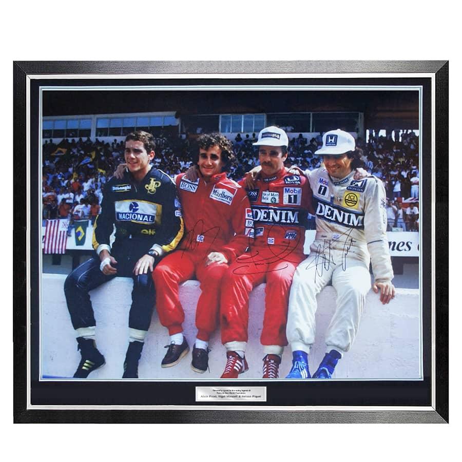 Formula 1 Signed Large Iconic Photo – Nigel Mansell, Alain Prost, Nelson Piquet