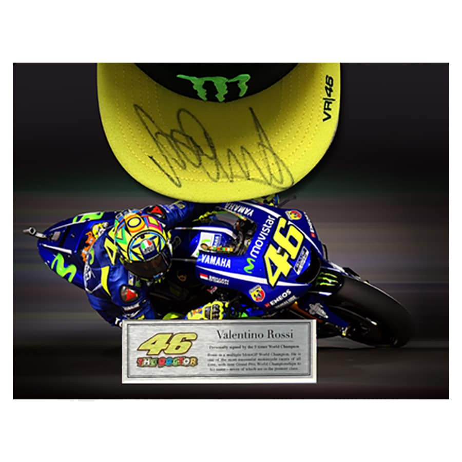Valentino Rossi Signed Cap 2017 Display