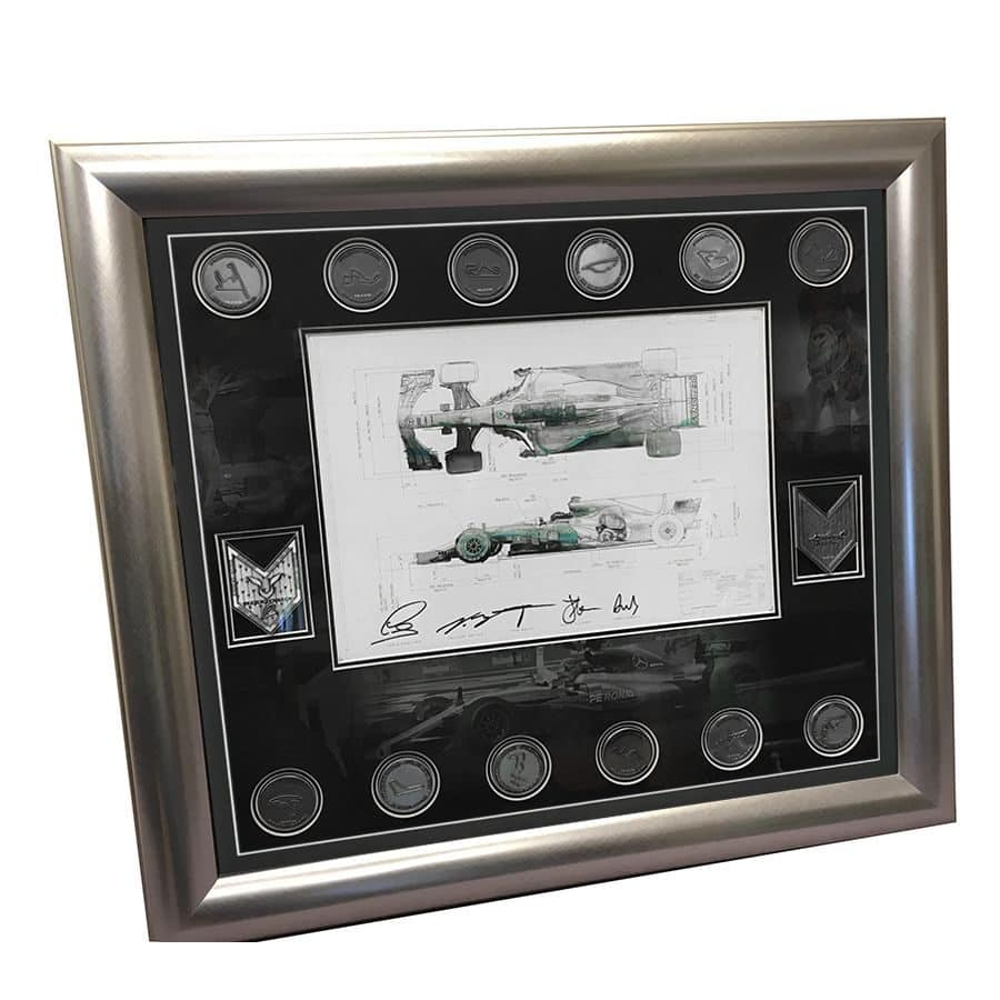 Lewis Hamilton Signed Mercedes Technical Drawing & Medals Display