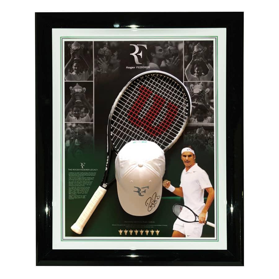 Roger Federer Signed Cap & Racket Display