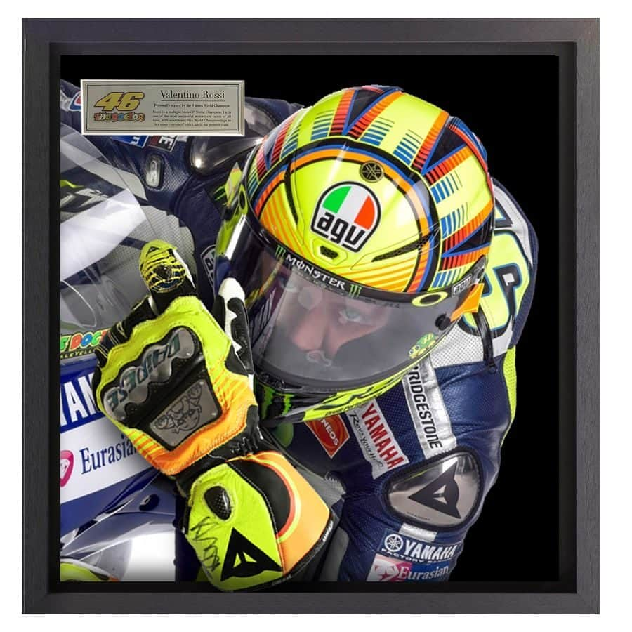 Valentino Rossi Signed Glove Framed Display