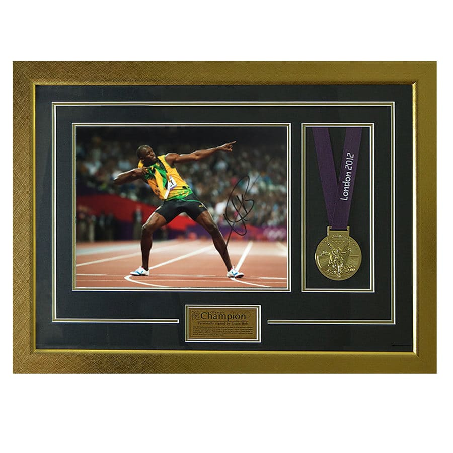 Usain Bolt Signed 2012 Olympic Photo & Replica Medal