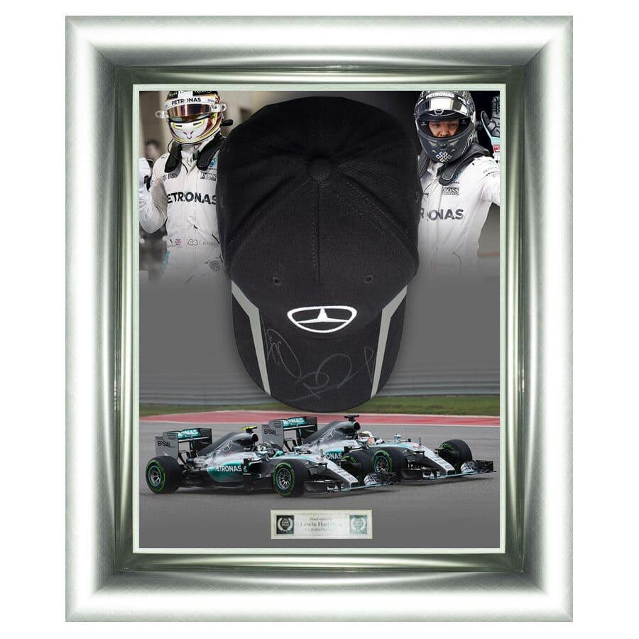 Lewis Hamilton & Nico Rosberg Signed Mercedes Cap