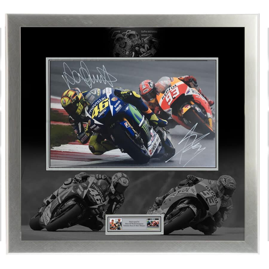 Valentino Rossi & Marc Marquez Signed Photo Display