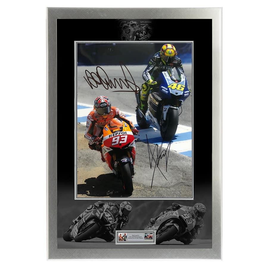 Valentino Rossi & Marc Marquez Signed Photo Display
