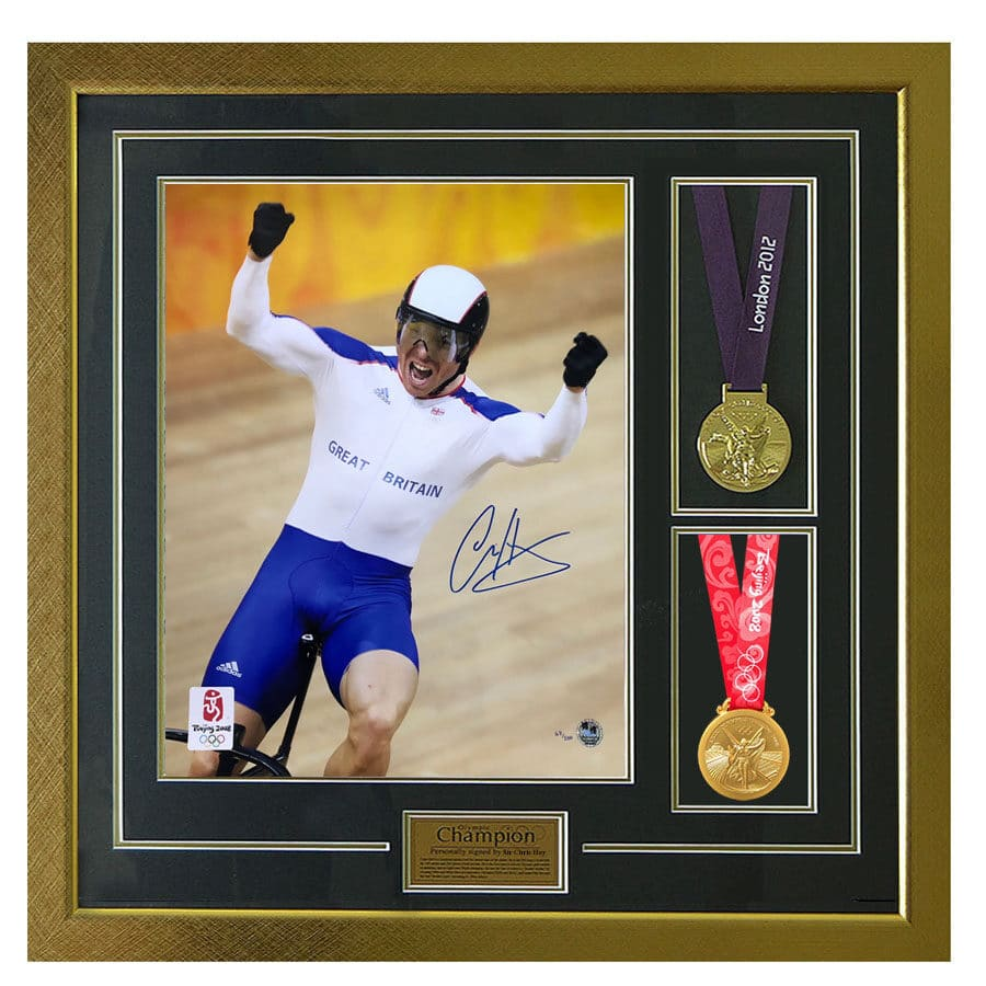 Sir Chris Hoy Signed 2008 Photo & Replica Medals
