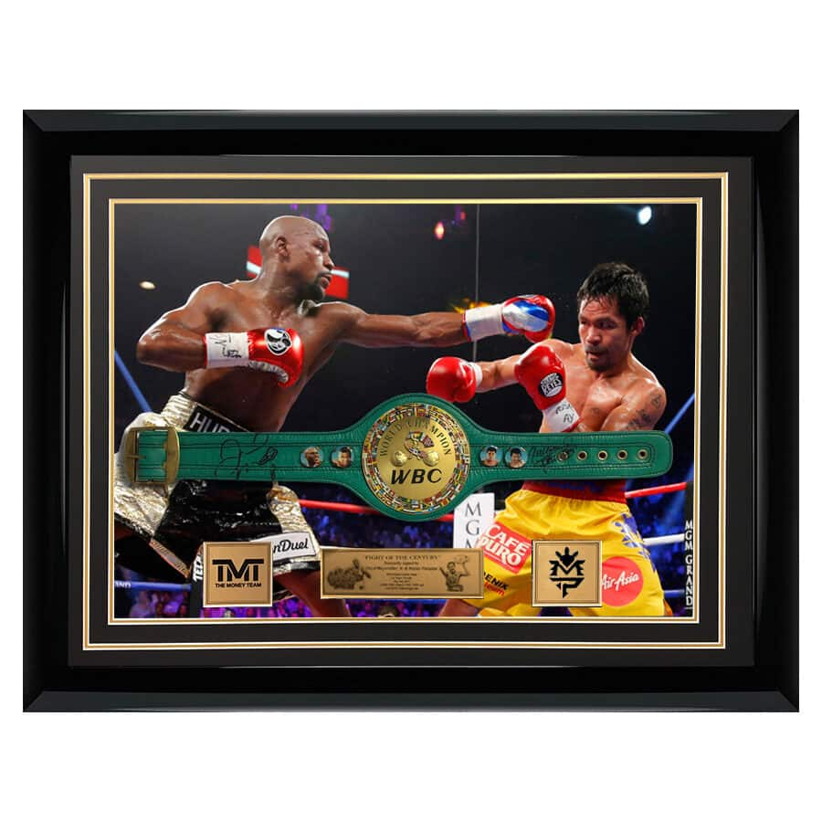 Floyd Mayweather and Manny Pacquiao signed Mini Boxing Belt