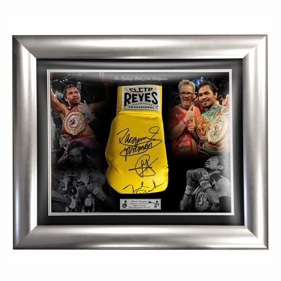 Signed Manny Pacquiao, Freddie Roach & Buboy Fernandez Glove