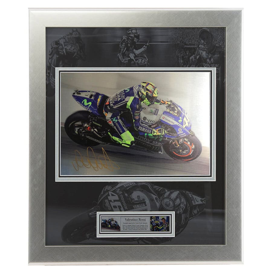 Valentino Rossi Signed Metal Picture Display