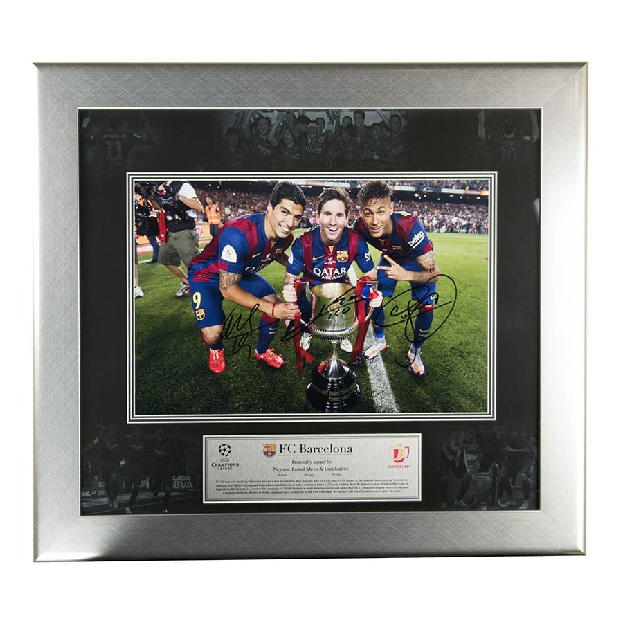 Messi, Suarez & Neymar Signed Photo Display