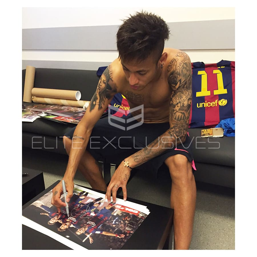 Messi, Suarez & Neymar Signed Photo Display MSN 2