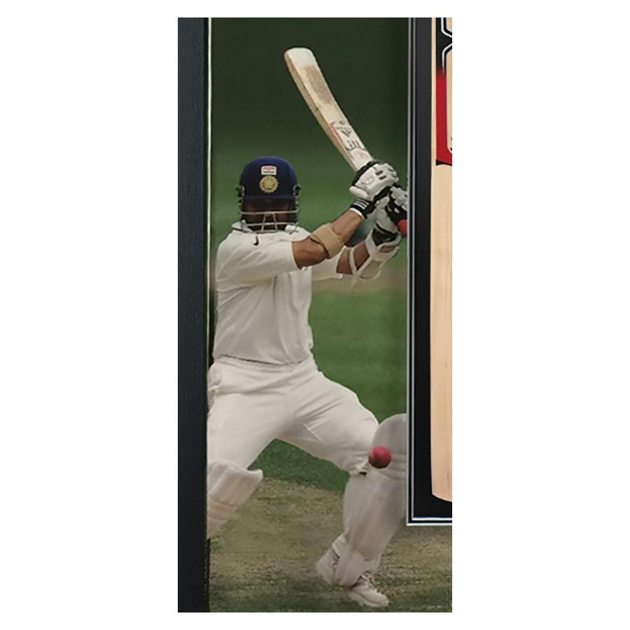 Sachin Tendulkar Signed MRF Cricket Bat Display