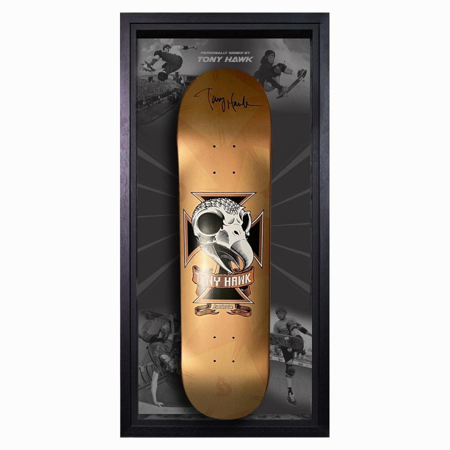Tony Hawk Signed Skateboard Deck Gold