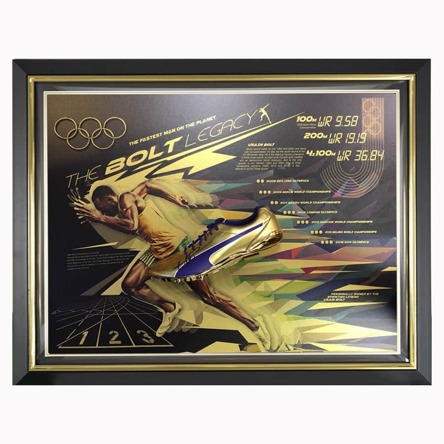 Usain Bolt Signed Puma Legacy Running Gold Spike Shoe