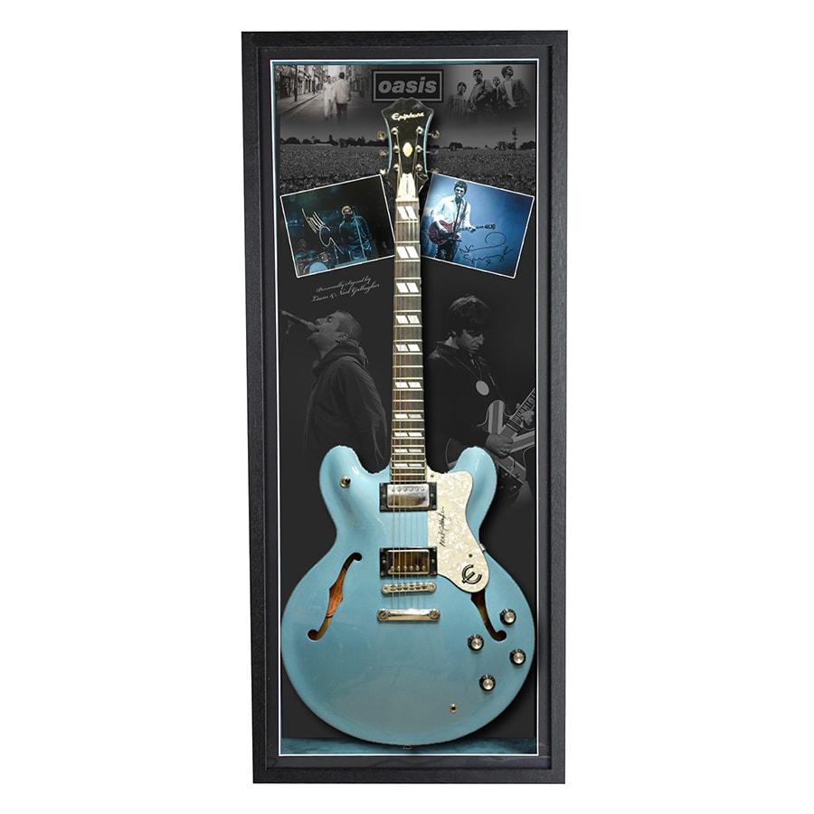 Oasis Signed Liam & Noel Gallagher Photo & Supernova Guitar Display