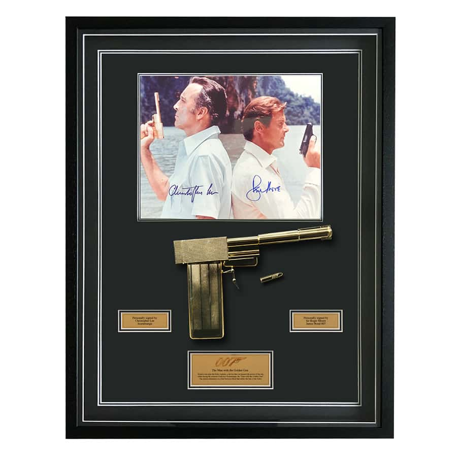Christopher Lee & Roger Moore Signed Display – The Man With The Golden Gun