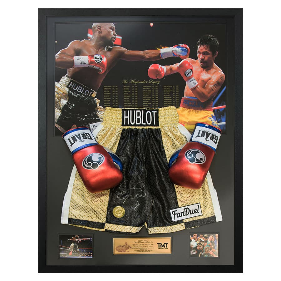 Floyd Mayweather Signed Shorts & Boxing Glove TMT Display