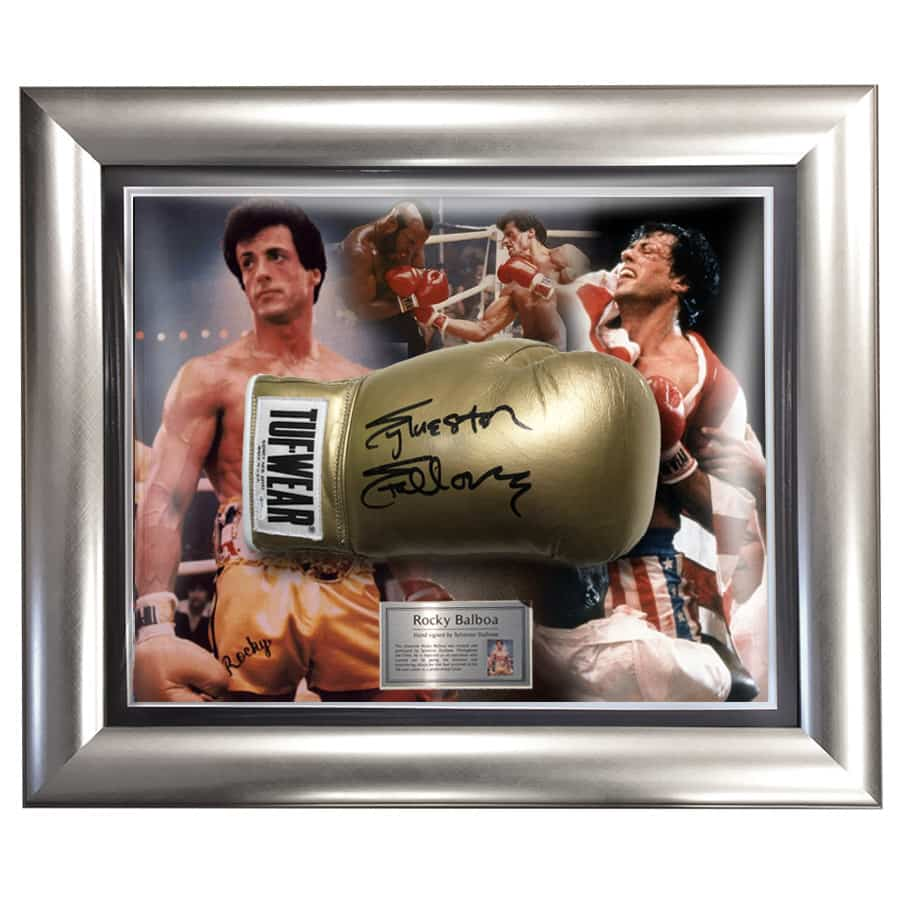 Sylvester Stallone Signed Boxing Glove – Gold Rocky Display