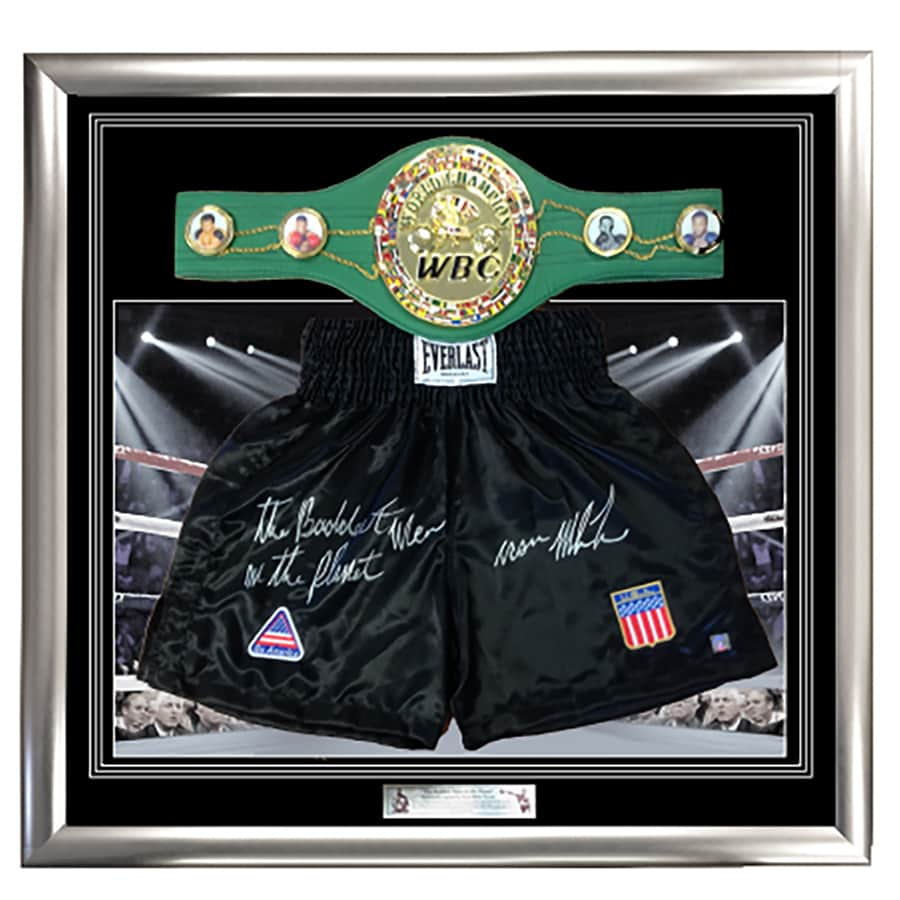 Mike Tyson Signed Boxing Trunks – Legacy Belt Framed Display