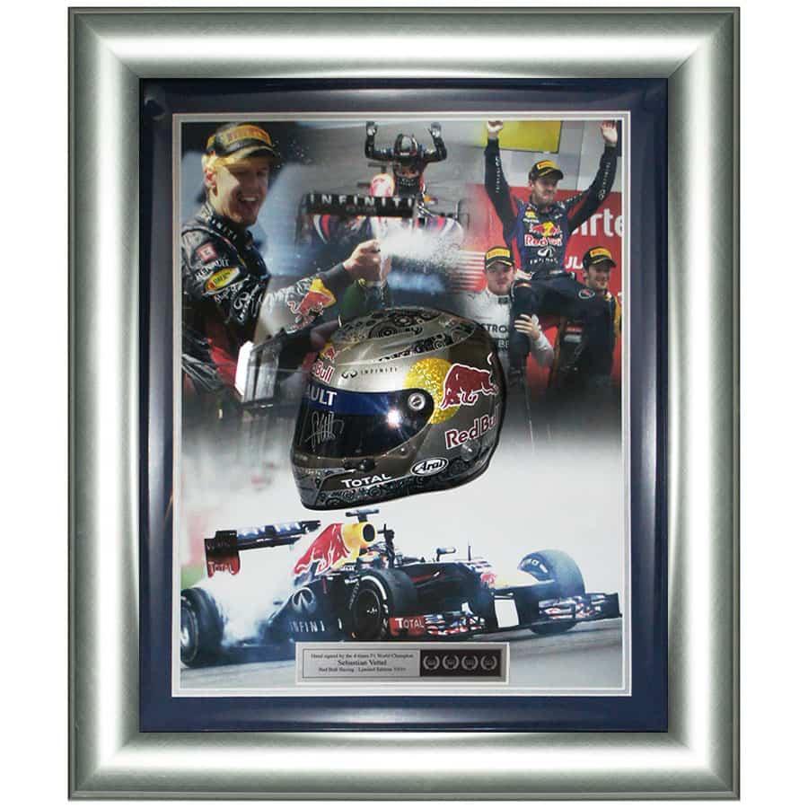 Sebastian Vettel Signed Red Bull Racing Framed 1/2 Scale Helmet