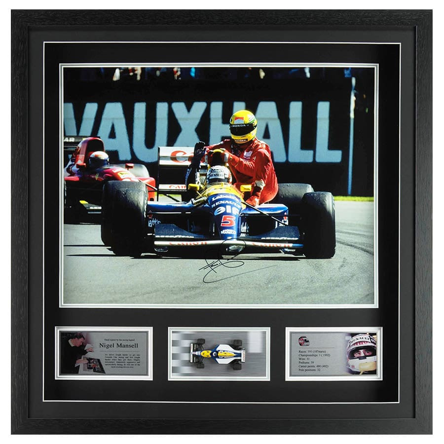 Nigel Mansell Signed Photo Display with Williams F1 Scale Model