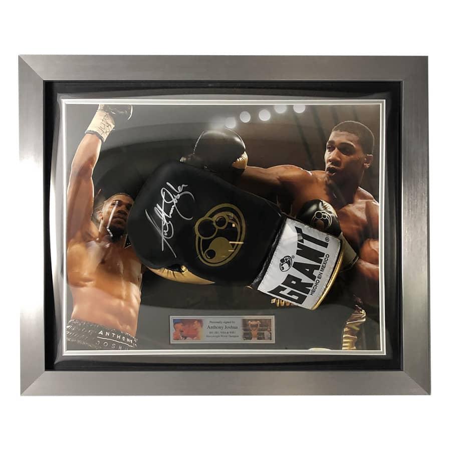 Anthony Joshua Signed Black & Gold Boxing Glove