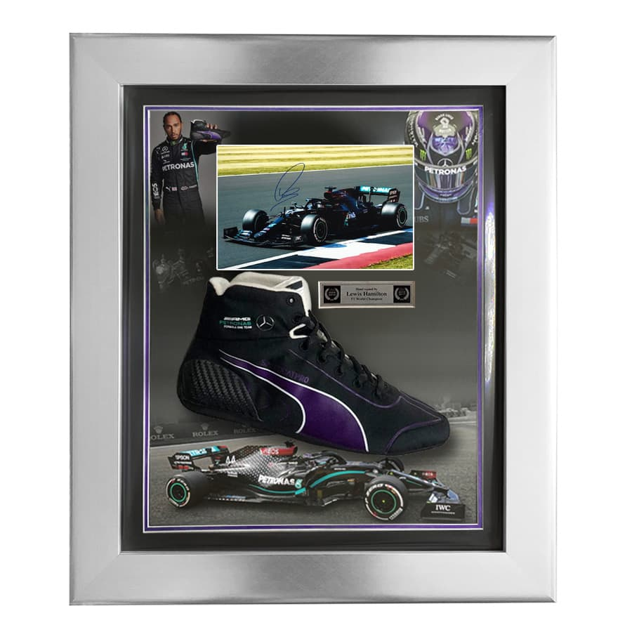 Lewis Hamilton Signed Photo With LH Puma F1 Boot 2020 Display