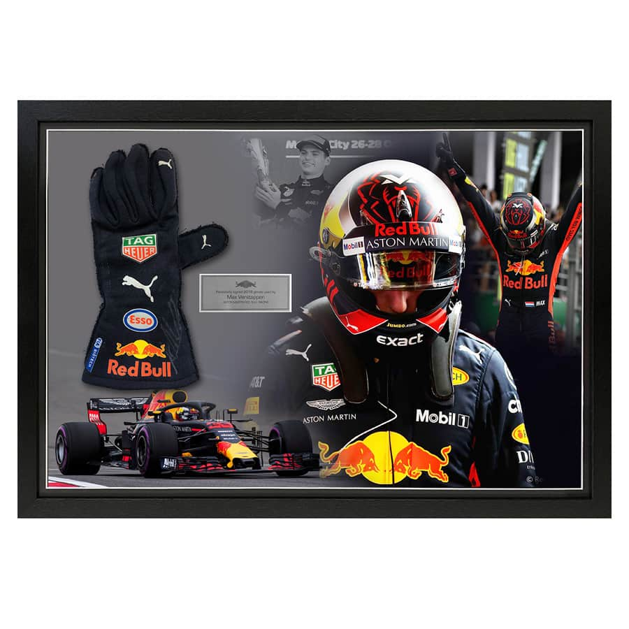 Max Verstappen Used & Signed Glove Display