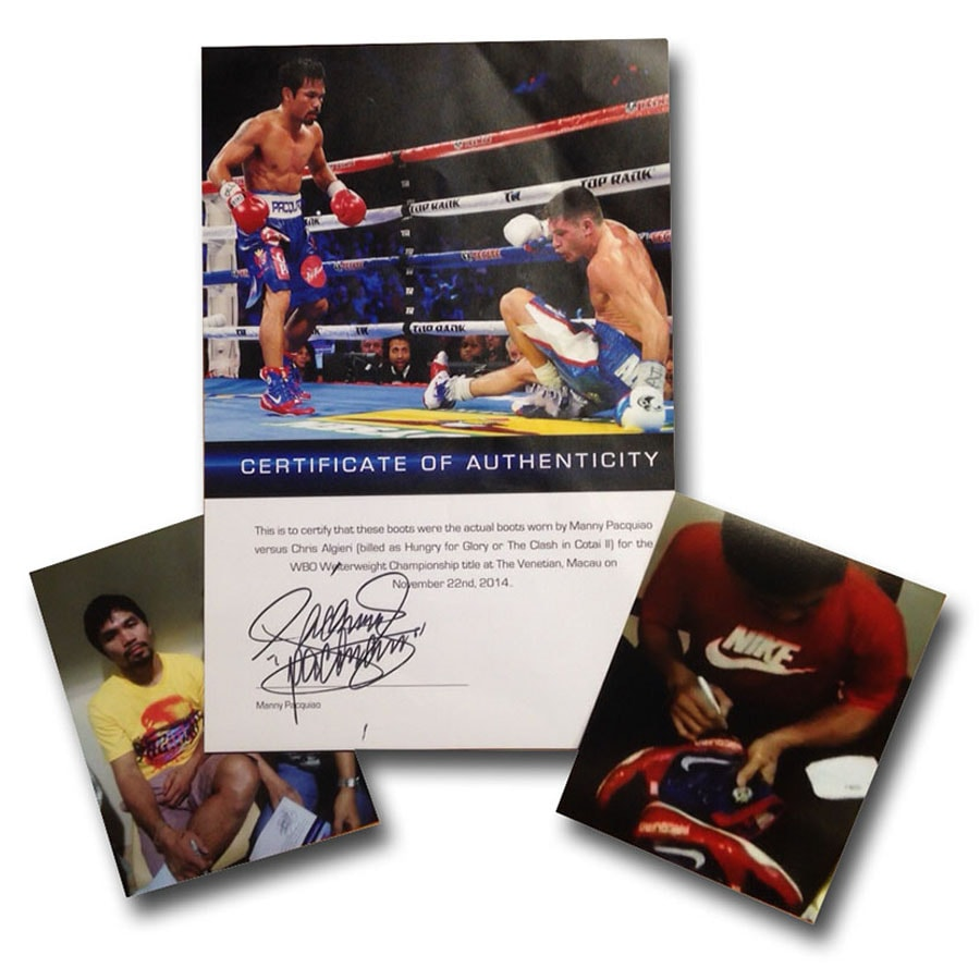 Manny Pacquiao Signed & Fight Used Boxing Boots
