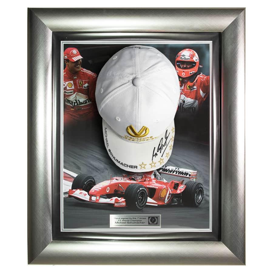 Michael Schumacher Signed White Cap Ferrari Display