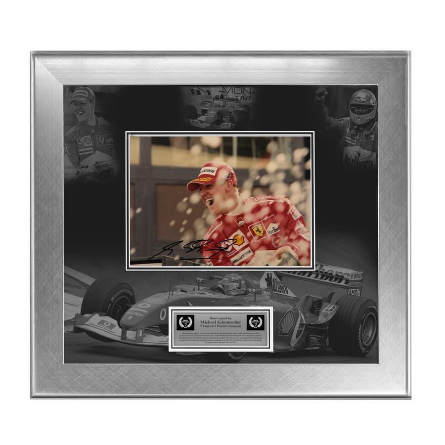 Michael Schumacher Signed Ferrari Photo Display