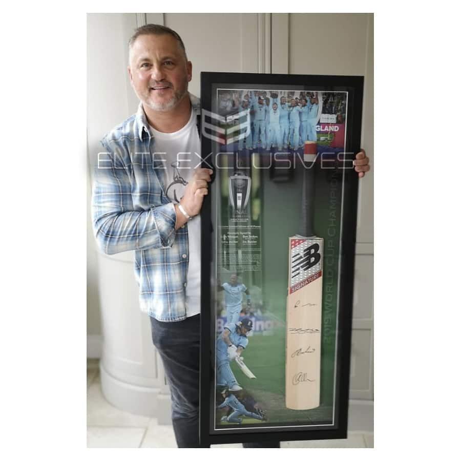 Ben Stokes, Eoin Morgan, Jofra Archer & Jos Buttler Signed 2019 World Cup Cricket Bat Display