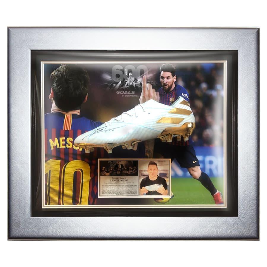 Lionel Messi Signed Adidas Nemeziz Boot Display – Very Rare