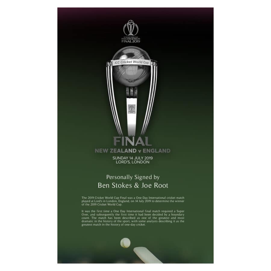 Ben Stokes & Joe Root Signed 2019 World Cup Cricket Bat Display