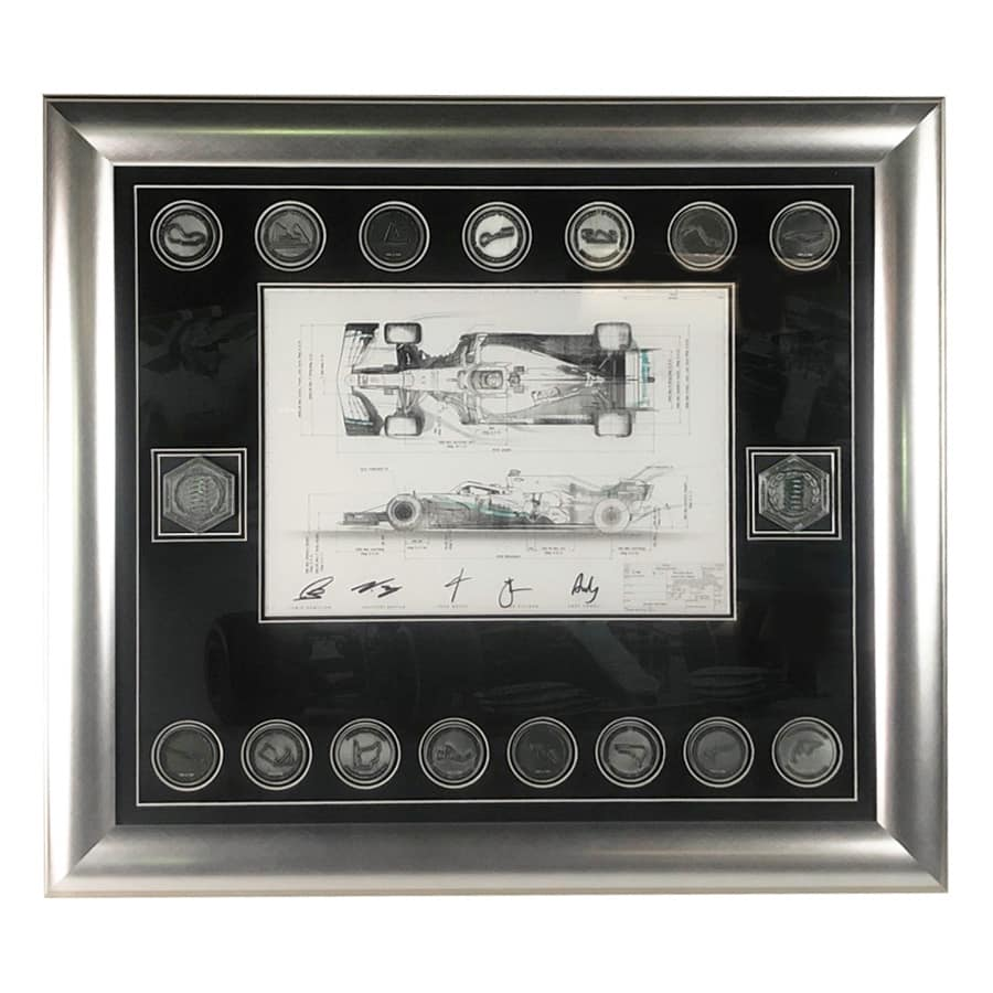 Lewis Hamilton Signed Mercedes 2019 Technical Drawing & Medals Display