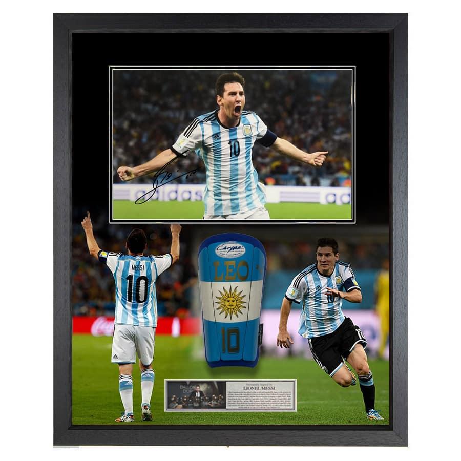 Lionel Messi Signed Photo Argentina & Rare Used Shin Guard