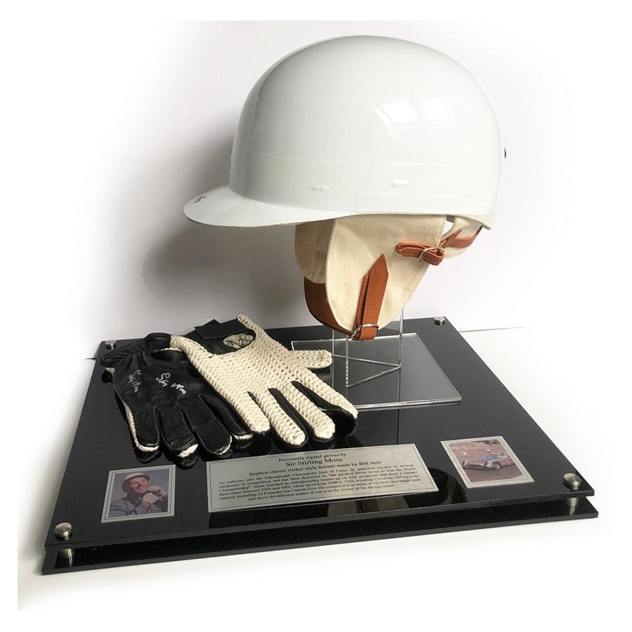 Sir Stirling Moss Signed Replica Gloves & Helmet Display