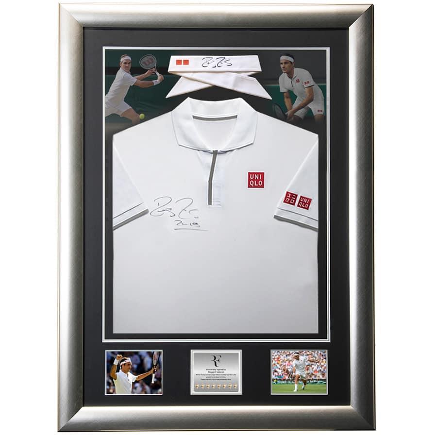 Roger Federer Signed 2019 Wimbledon Match Shirt & Headband- Match Worn